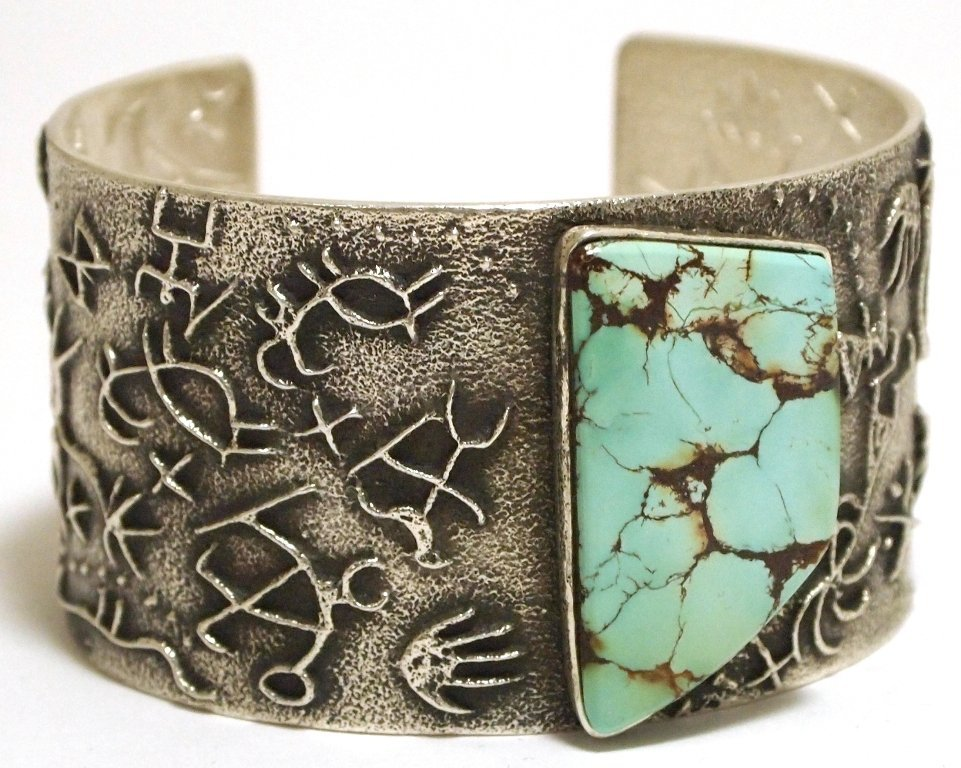 Navajo Spider Web Turquoise Sterling Silver Tufa Cast C