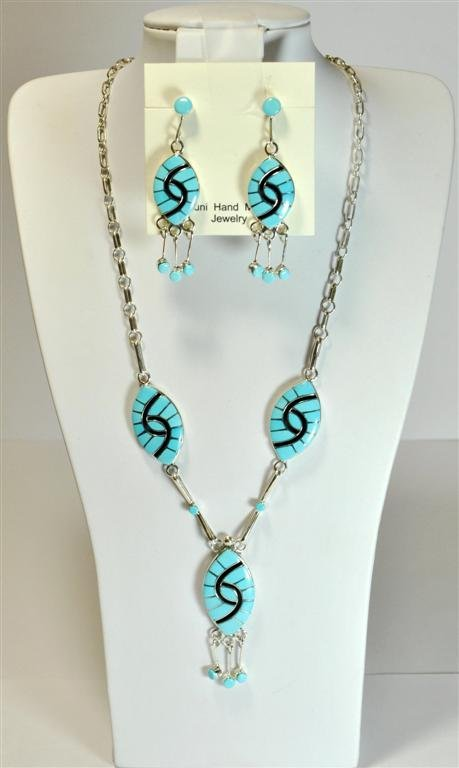 Zuni Turquoise Necklace & Earrings Set - Amy Quandelacy