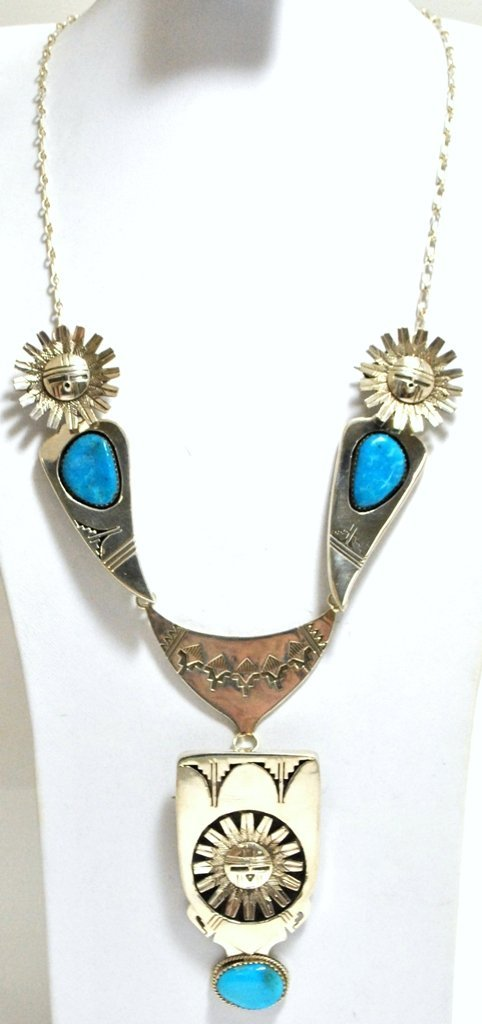 Navajo Turquoise Sun Face Sterling Silver Necklace with