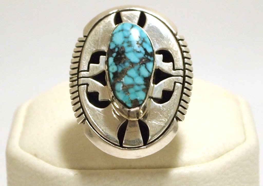 Navajo Spider Web Kingman Turquoise Sterling Silver Wom