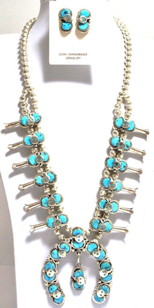 Zuni Turquoise Snake Squash Blossom Sterling Silver Nec