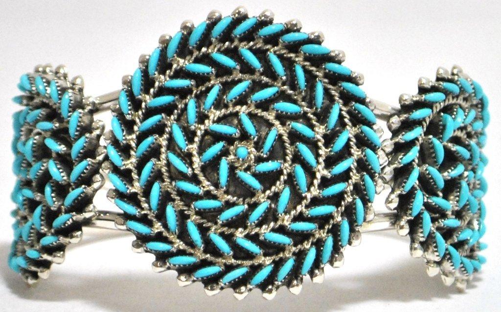 Zuni Turquoise Needlepoint Sterling Silver Cuff Bracele