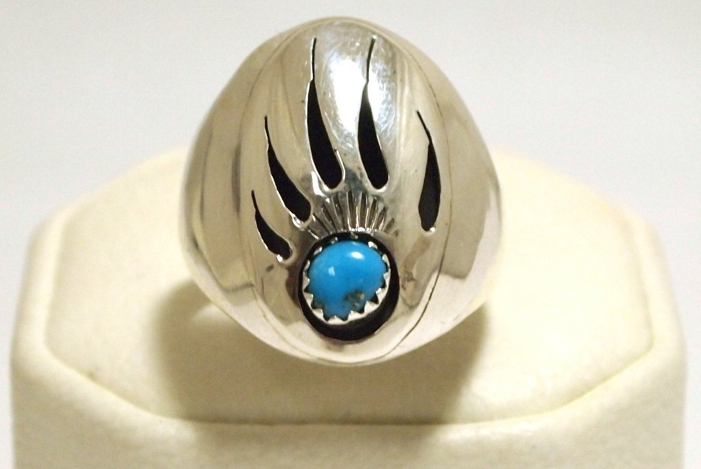 Navajo Turquoise Sterling Silver Bear Paw Men's Ring -