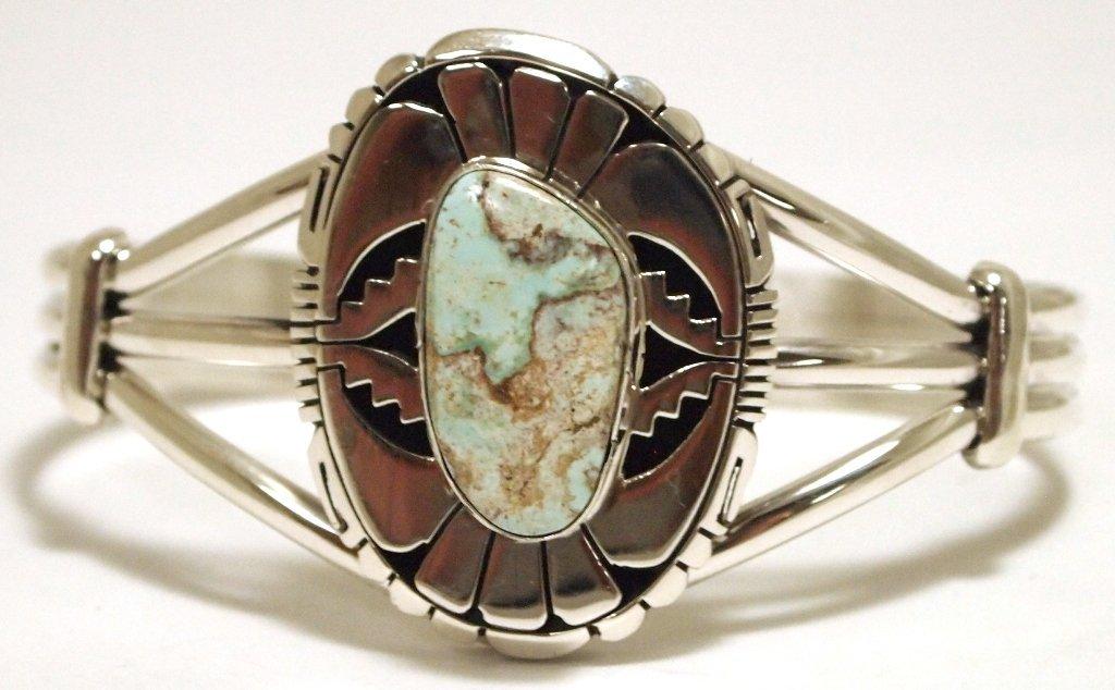 Navajo Dry Creek Turquoise Sterling Silver Cuff Bracele