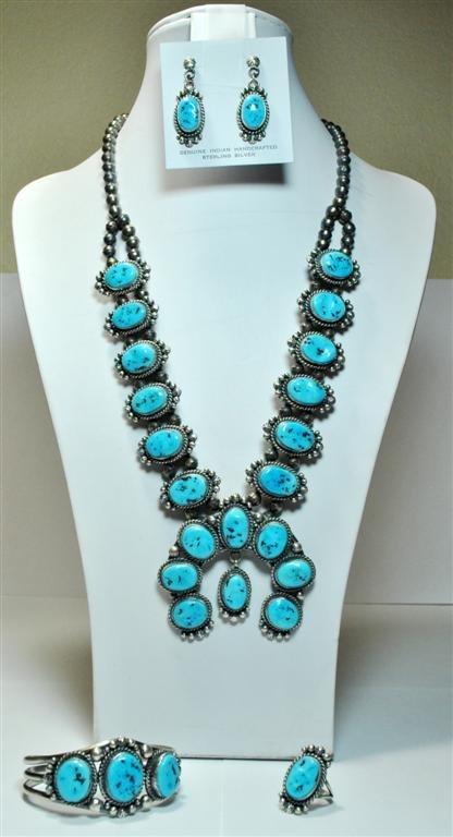 Navajo Sleeping Beauty Turquoise Dark Squash Blossom 4-