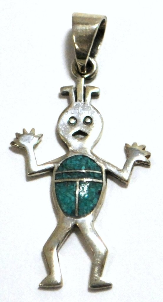 Navajo Turquoise Chip Inlay Sterling Silver Surprised F