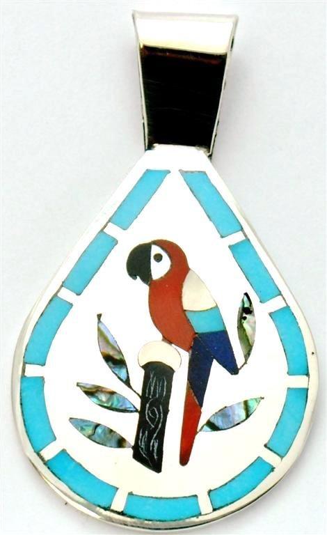Zuni Multi-Stone Macaw Pendant - Dennis & Nancy Edaakie