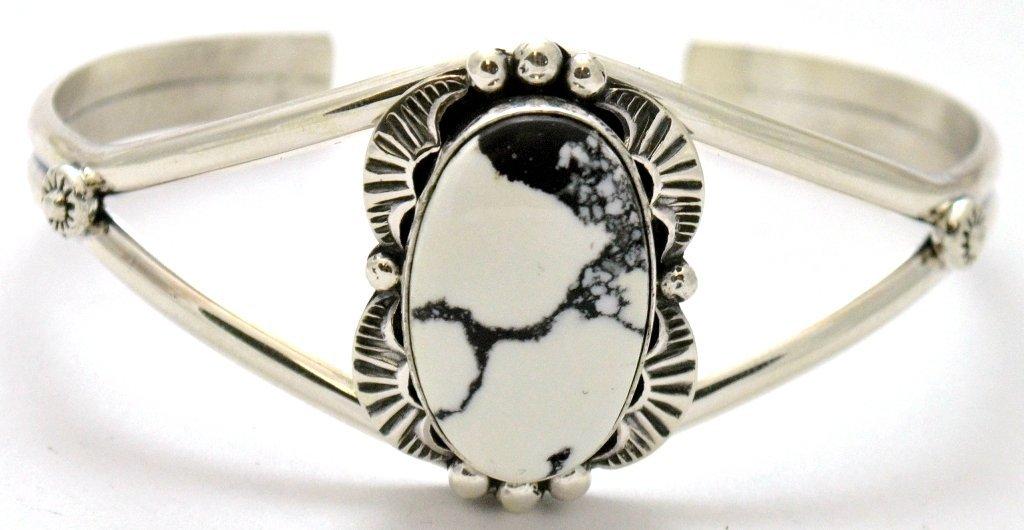 Navajo Howlite Sterling Silver Bracelet - Mary Ann Spen