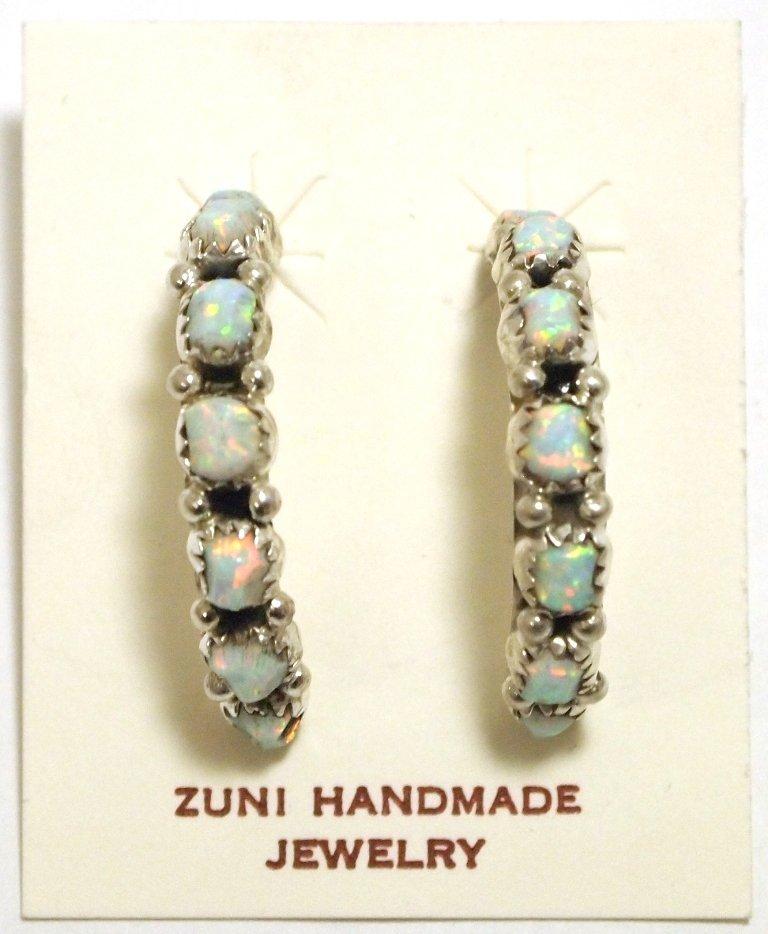 Zuni Opal Sterling Silver Half-Ring Post Earrings - Leo