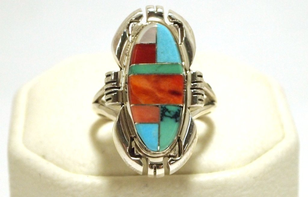Navajo Multi-Stone Inlay Sterling Silver Women's Ring -
