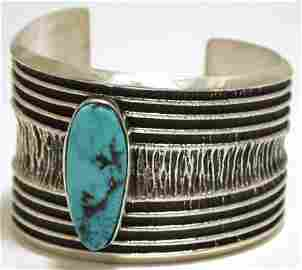 Navajo Kingman Turquoise Sterling Silver Tufa Cast Cuff
