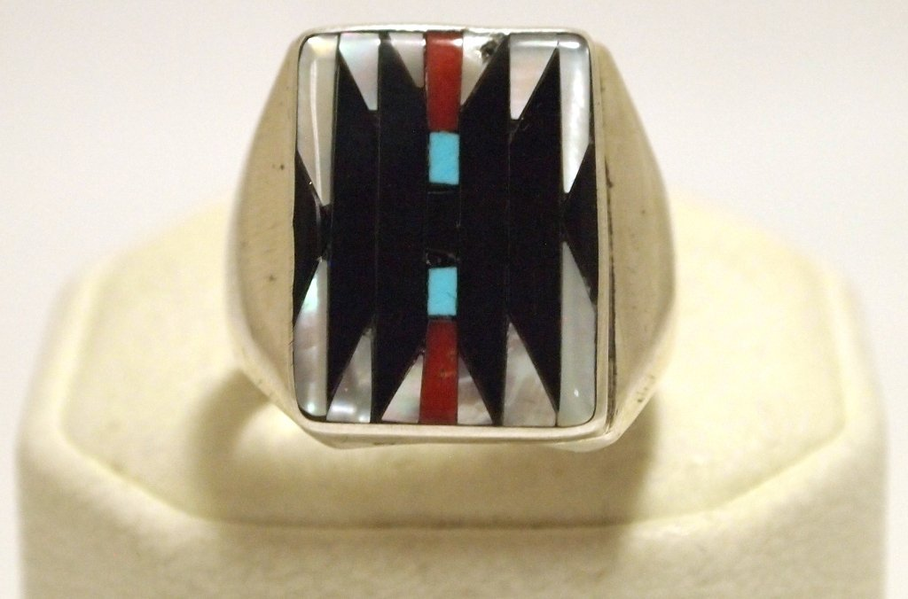 Zuni Multi-Stone Inlay Sterling Silver Men's Ring - Cha
