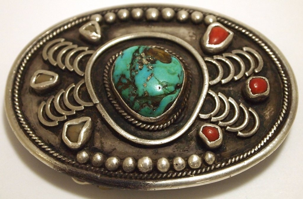 Vintage Old Pawn Navajo Turquoise & Coral Sterling Silv