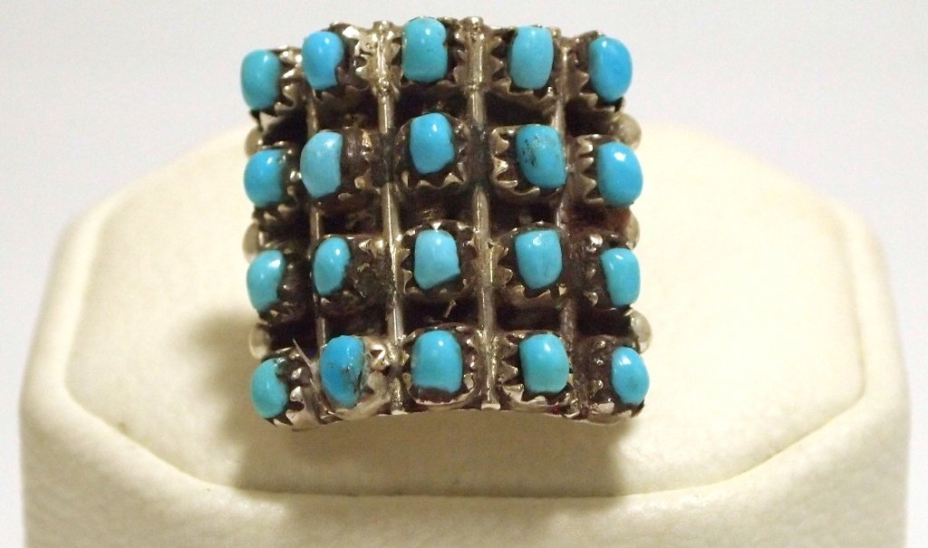 Navajo Turquoise Dots Sterling Silver Men's Ring - Iren