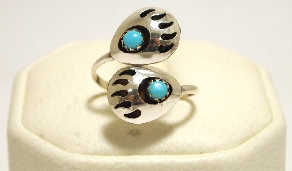 Navajo Turquoise Sterling Silver Bear Paw Adjustable Wo