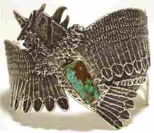 Navajo Kingman Turquoise Sterling Silver Tufa Cast Kach
