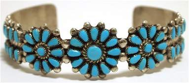 Old Pawn Zuni Turquoise Sterling Silver Cuff Bracelet -