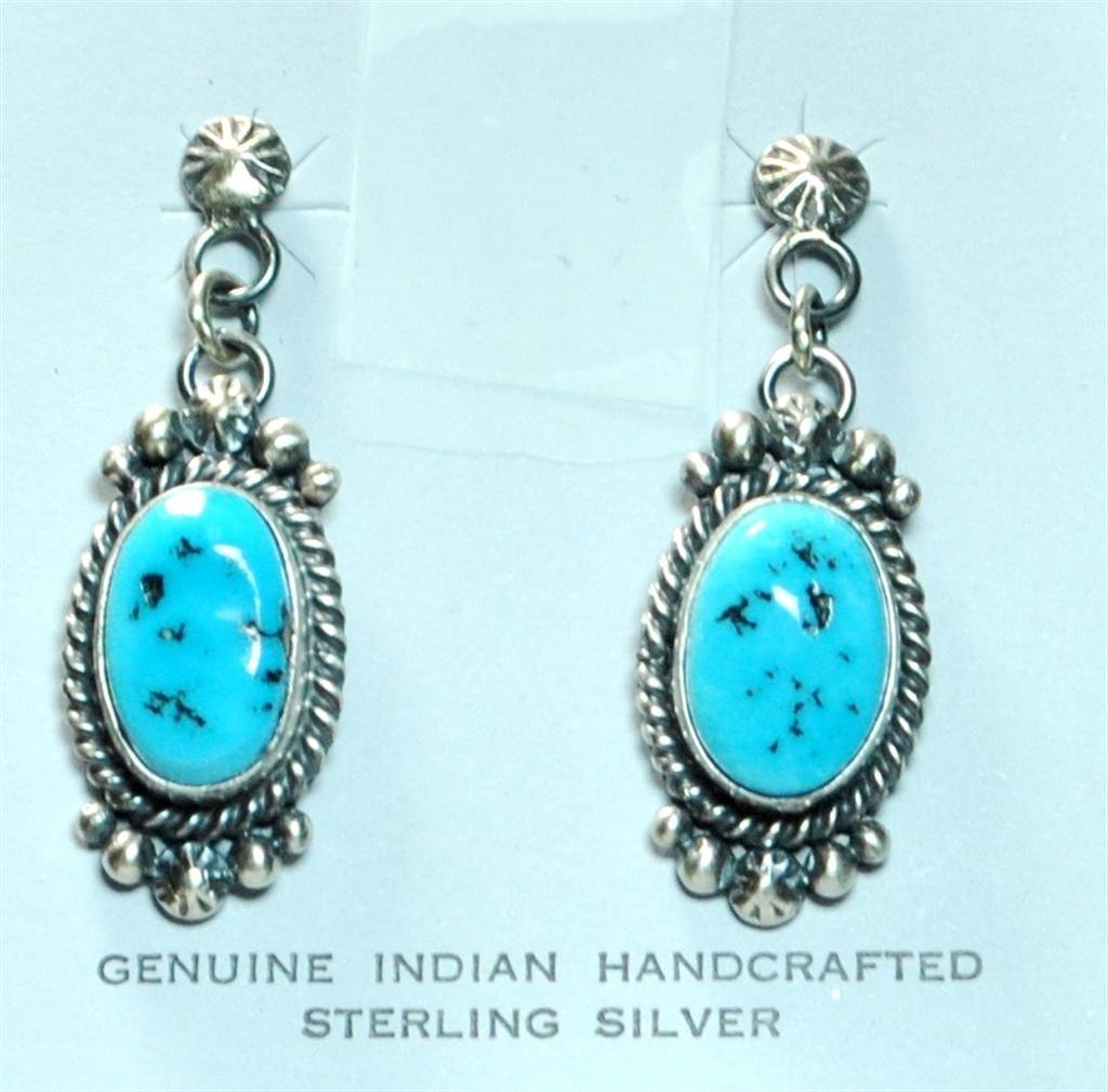 Navajo Sleeping Beauty Turquoise Dark Squash Blossom 4- - 2