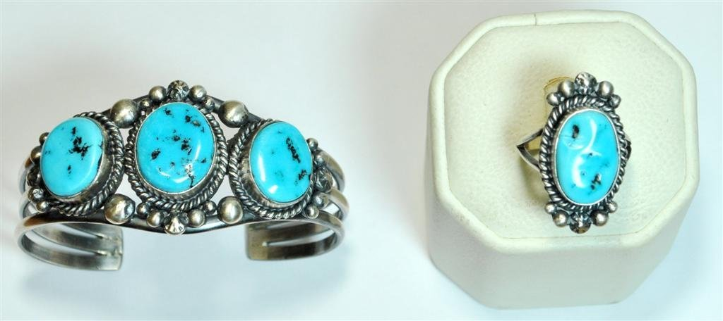 Navajo Sleeping Beauty Turquoise Dark Squash Blossom 4- - 3
