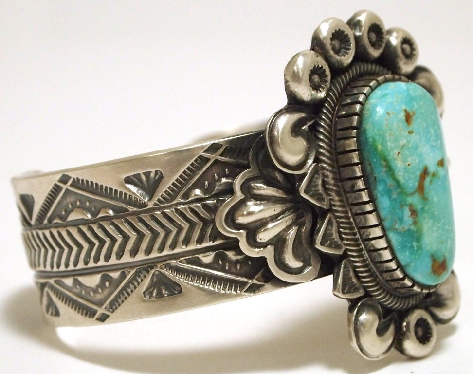 Old Pawn Navajo Mountain Turquoise Sterling Silver Cuff - 2