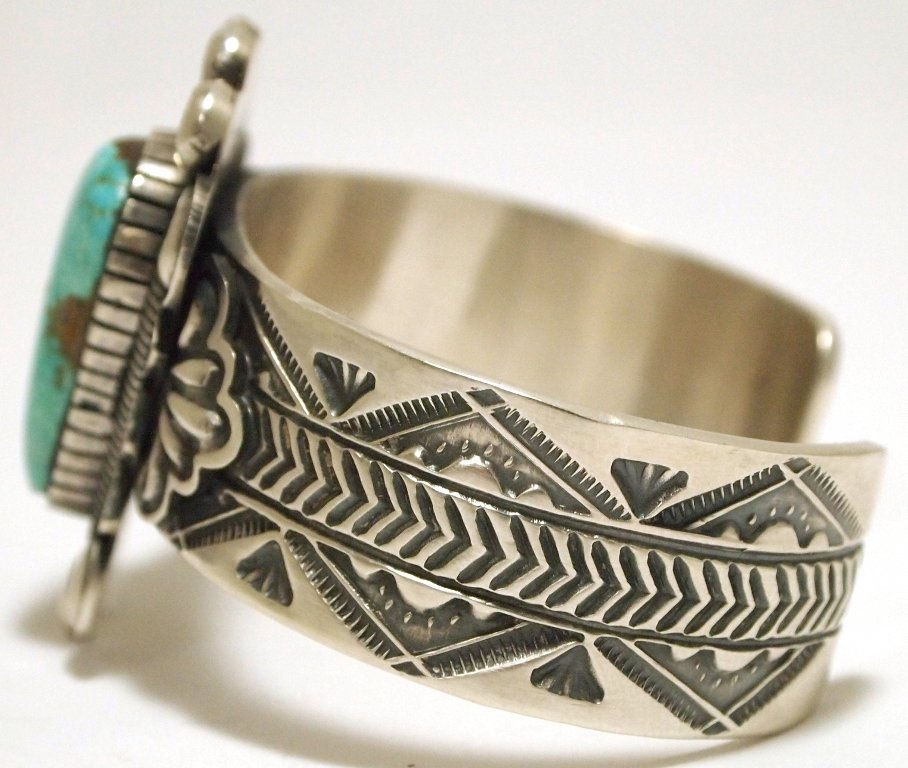 Old Pawn Navajo Mountain Turquoise Sterling Silver Cuff - 3