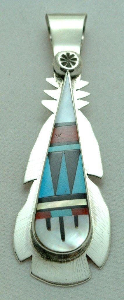 Zuni Multi-Stone Tall Teardrop Pendant