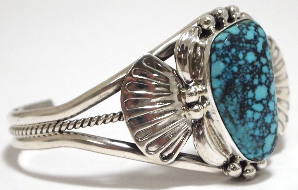 Navajo Spider Web Kingman Turquoise Sterling Silver Cuf - 2
