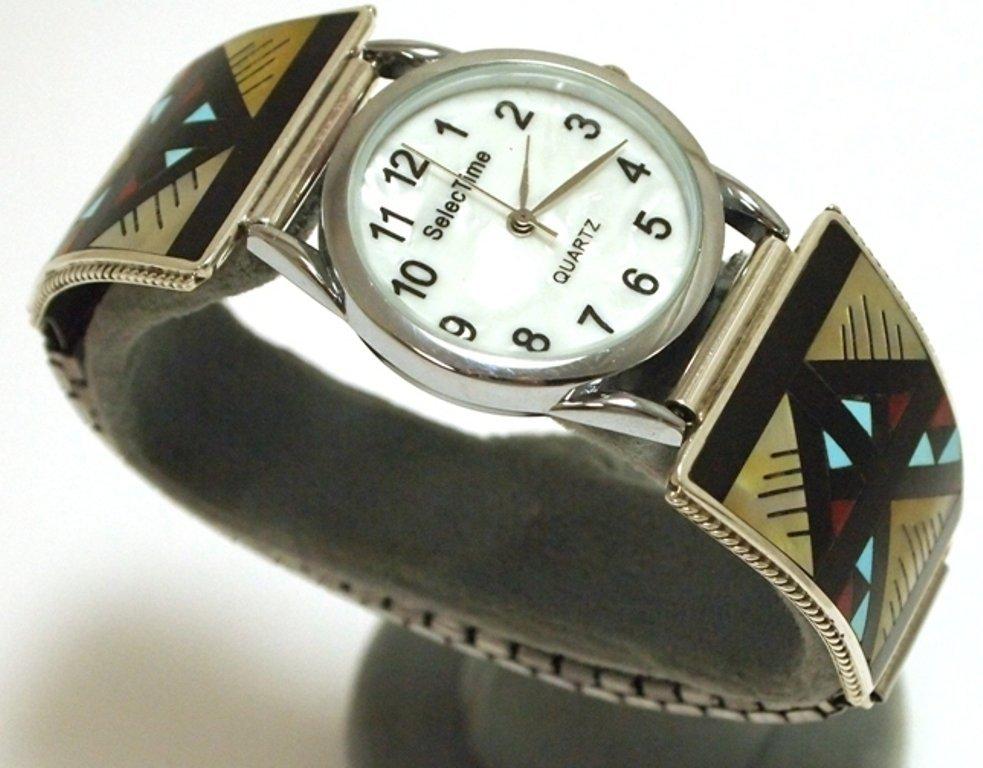 Zuni Multi-Stone Inlay Sterling Silver Men's Watch - Le