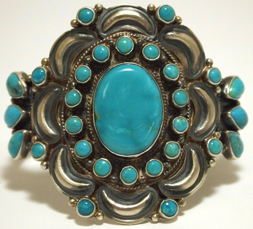 Navajo Turquoise Sterling Silver Cuff Bracelet - Dean B