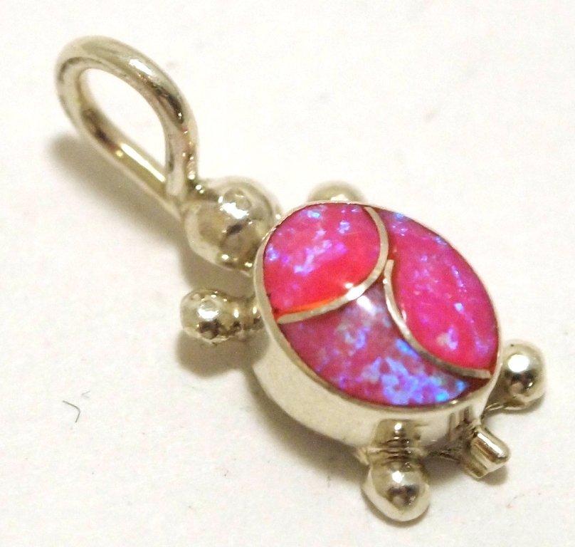 Zuni Matte Pink Opal Inlay Sterling Silver Turtle Penda