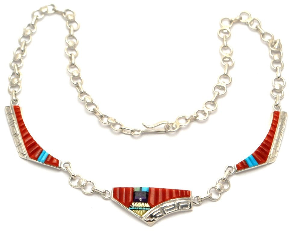 Navajo Coral Sun Face Sterling Silver Necklace - Wilber