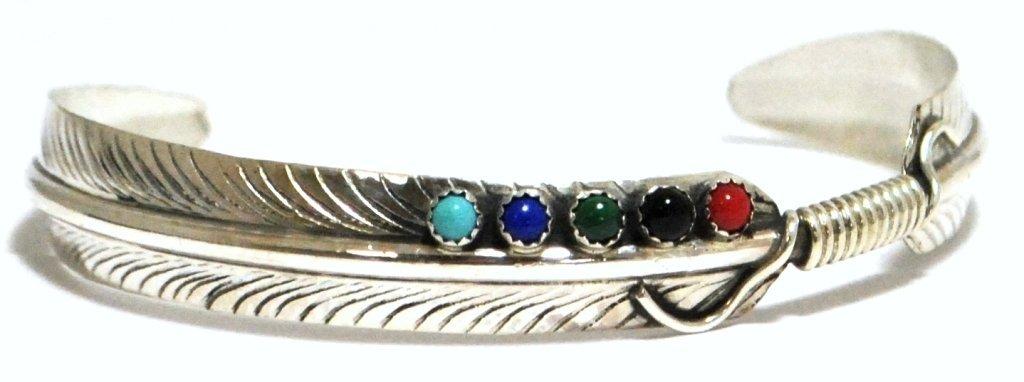 Navajo Multi-Stone Sterling Silver Cuff Bracelet - Chri