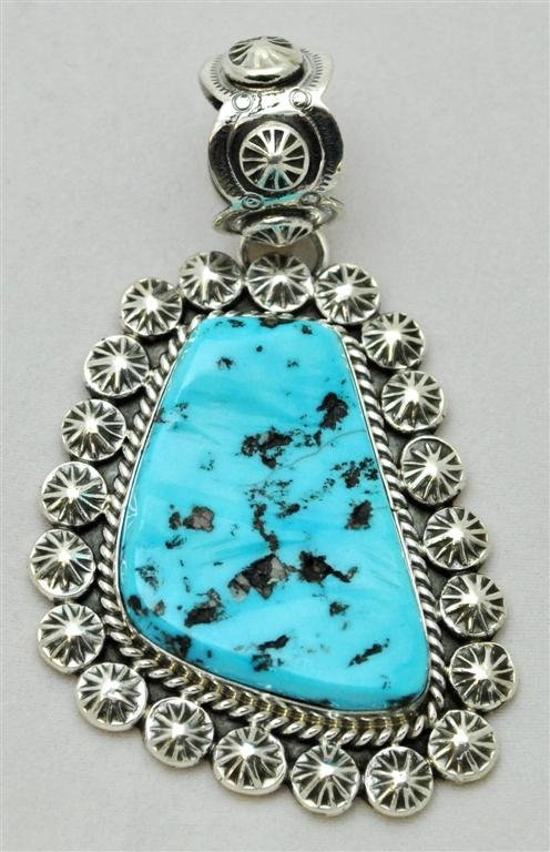 Navajo Sleeping Beauty Turquoise Large Sterling Silver