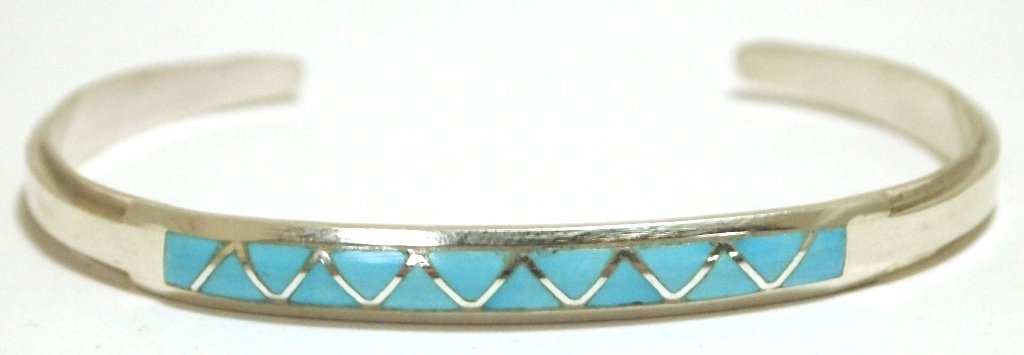 Zuni Turquoise Inlay Sterling Silver Cuff Bracelet - Ma