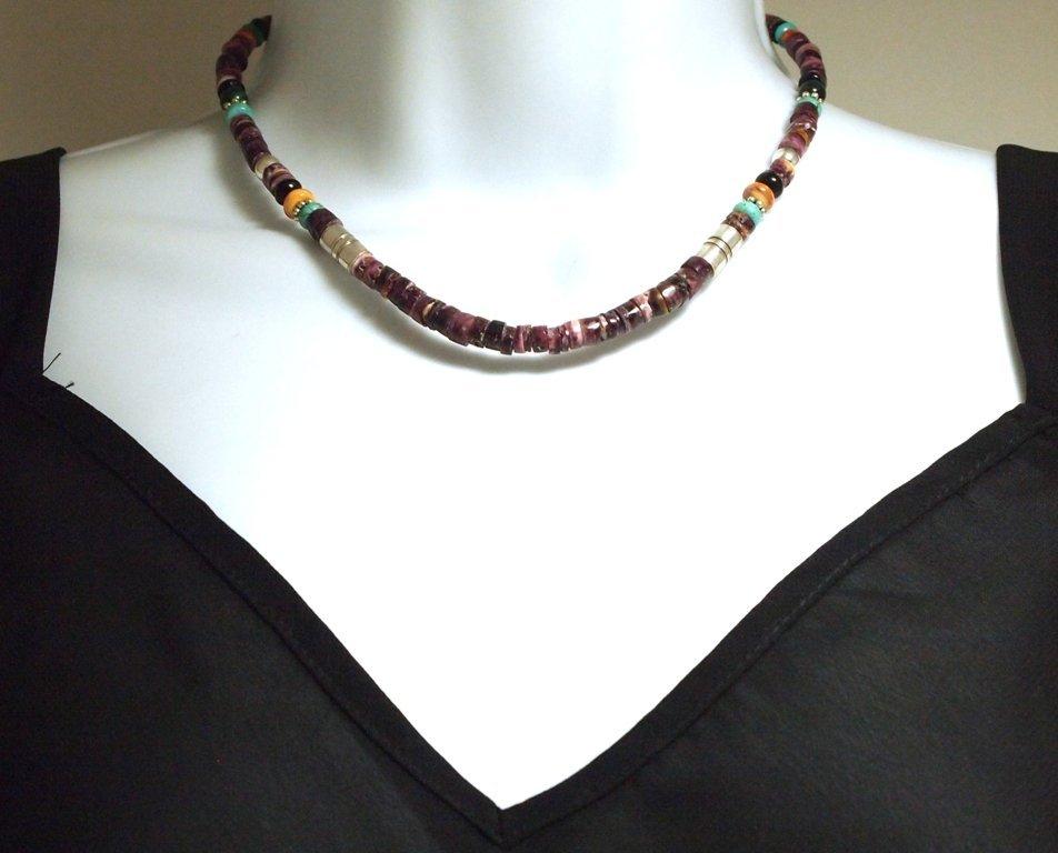 Navajo Spiny Oyster & Multi-Stone Necklace - Tommy Sing