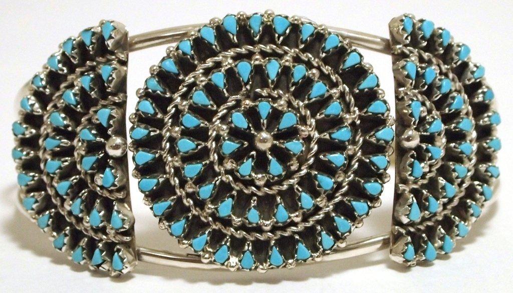 Zuni Turquoise Petit Point Sterling Silver Cuff Bracele