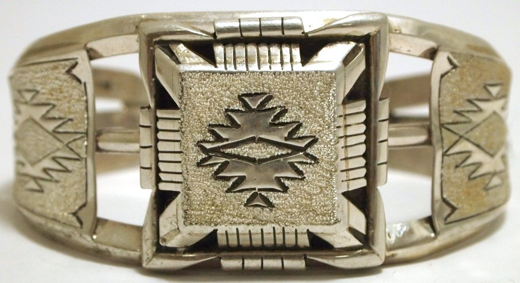 Old Pawn Navajo Sterling Silver Cuff Bracelet - T