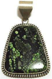 Old Pawn Navajo Green / Black Turquoise Matrix Sterling
