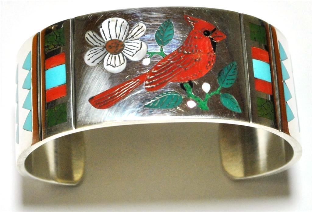 Zuni Cardinal Inlay Sterling Silver Cuff Bracelet - Rud