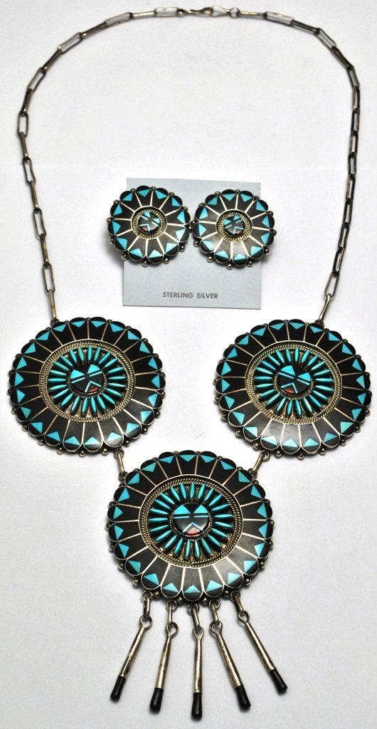 Zuni Onyx & Turquoise Necklace & Earrings Set - Ben & S