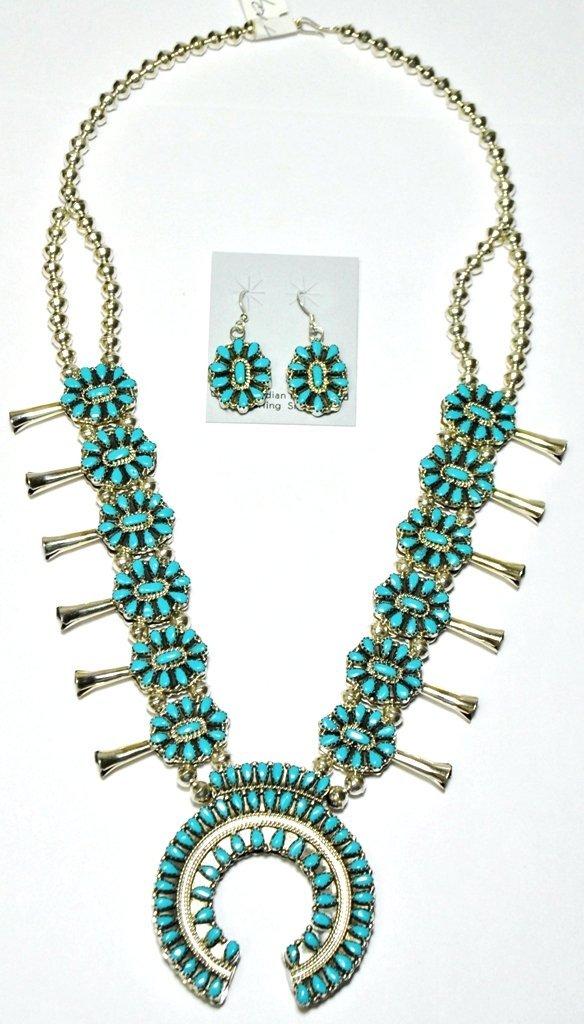 Navajo Coral & Turquoise Reversible Squash Blossom Neck