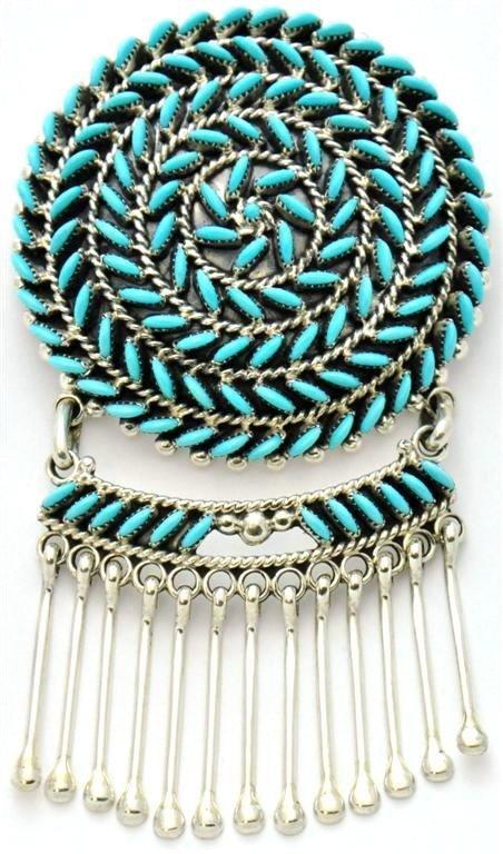 Zuni Turquoise Needlepoint Pendant & Pin - Octavius & I