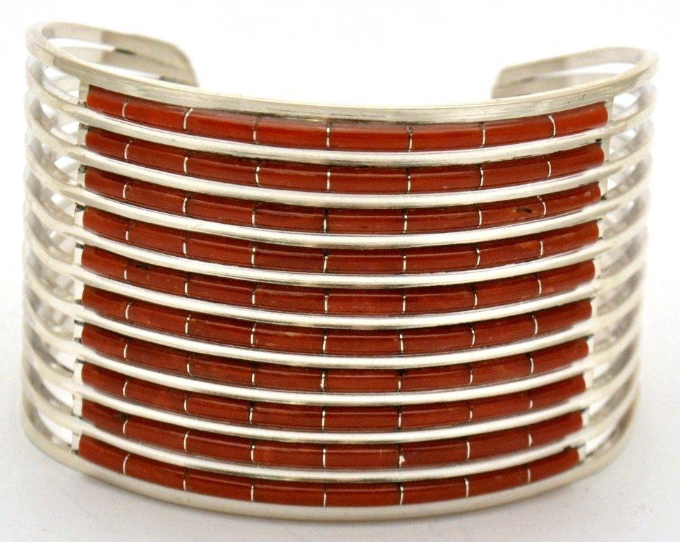Zuni Coral Sterling Silver Bracelet - Anselm Wallace