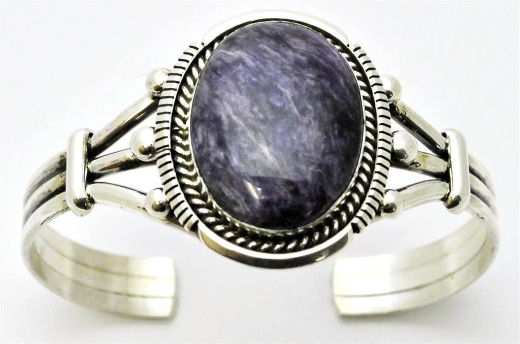 Navajo Charoite Sterling Silver Cuff Bracelet - Eugene