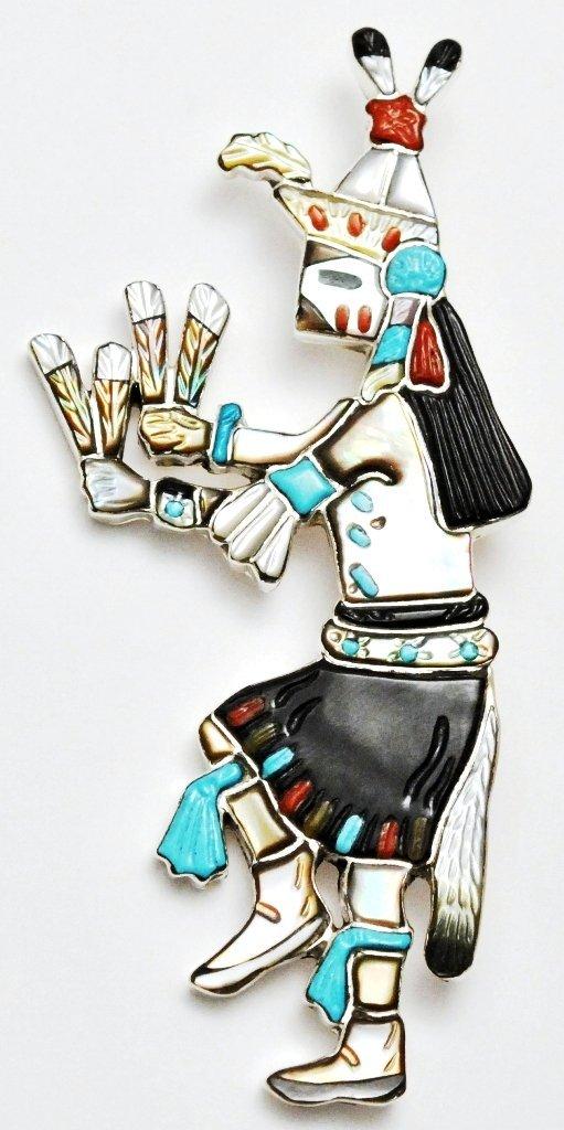 Navajo Multi-Stone Male Harvest Dancer Zuni Pendant & P