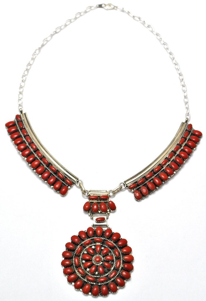 Navajo Coral Cluster Necklace - Juliana Williams