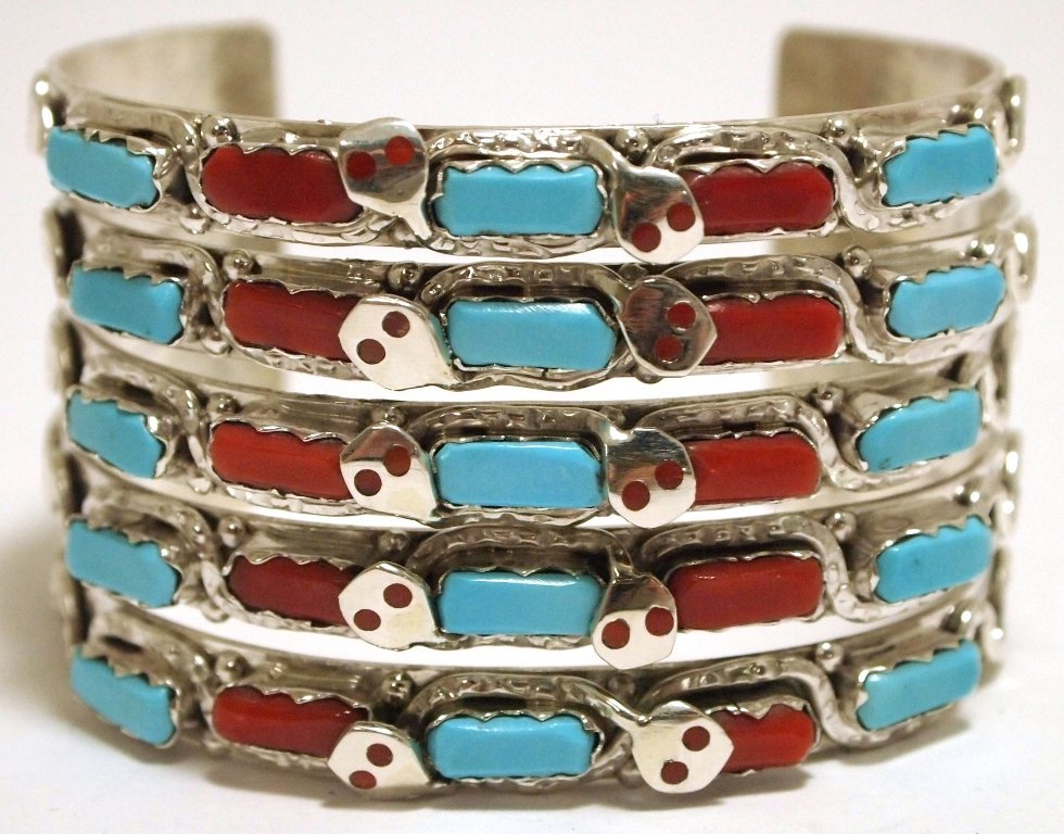 Zuni Coral & Turquoise Sterling Silver Snake Cuff Brace