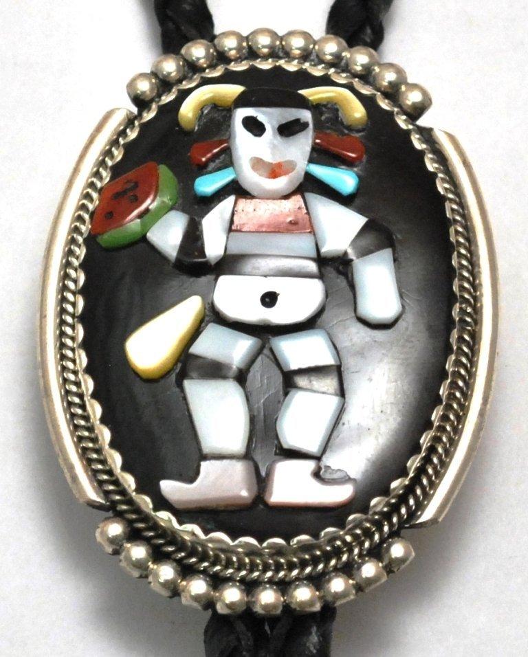 Zuni Multi-Stone Koshare Clown Sterling Silver Bolo Tie