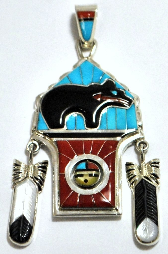 Zuni Multi-Stone Bear & Sun Face Spinner Sterling Silve