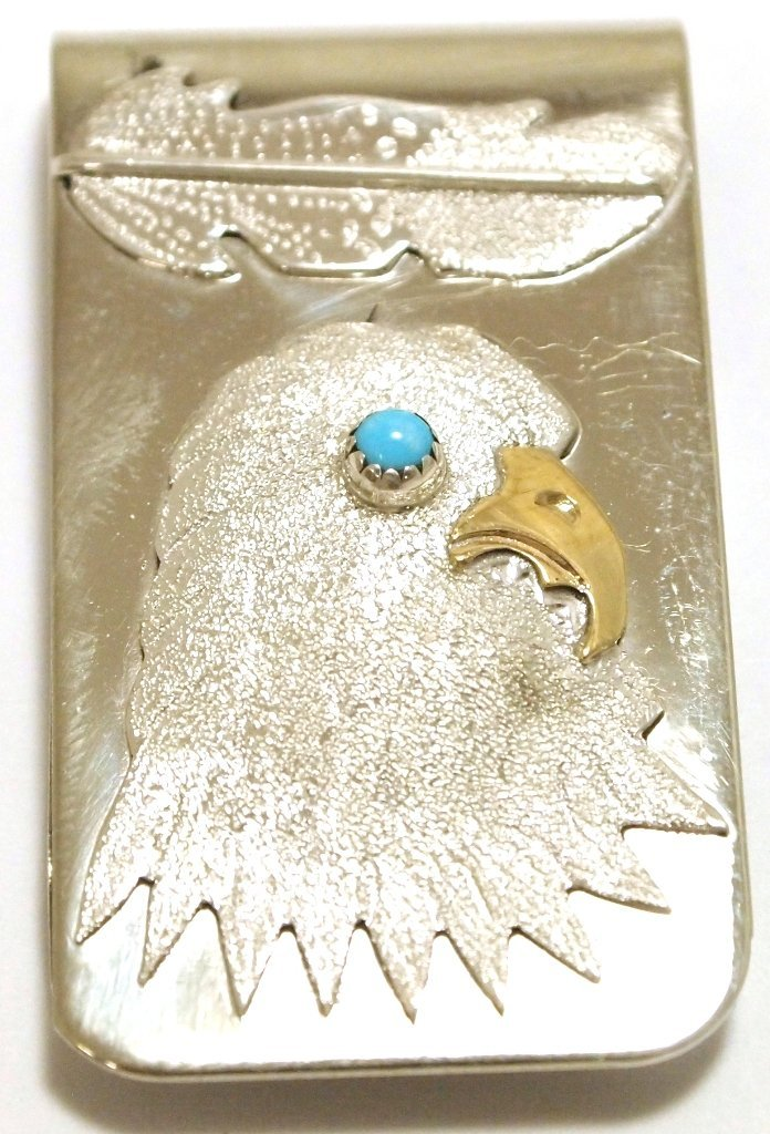 Navajo Turquoise Sterling Silver Eagle Head Money Clip